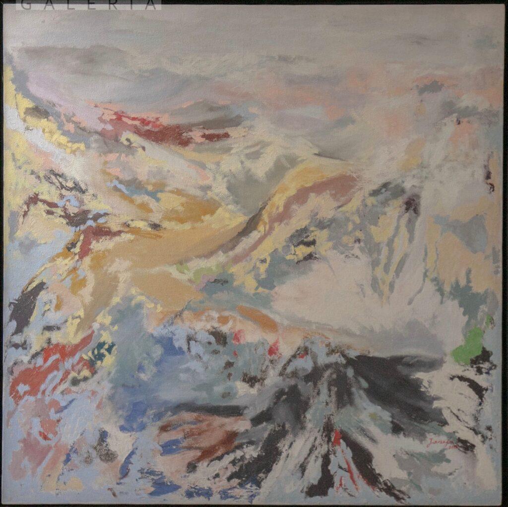 """""""Bancos de niebla"""", Josefa Garcia, Óleo sobre tela, Medidas: 100 x 100 cm, 2013."""