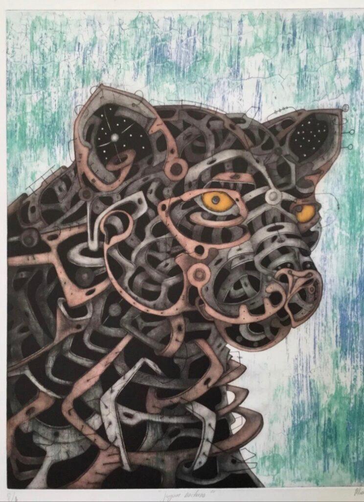 """""""Jaguar nocturno"""", Manuel Miguel, Grabado en metal / Papel guarro, Medidas: 74 x 60 cm."""