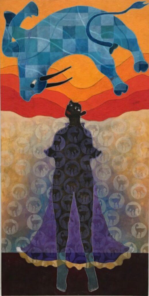 "Saul Castro, ""Toro enamorado"",Técnica: Temple al huevo, Medidas:  235 x 120 cm."