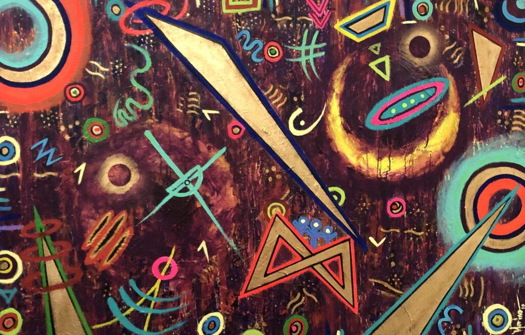 """""""Dos lunas"""", Francisco Merino, Mixta sobre tela, Medidas: 100 x 150 cm, 2021"""