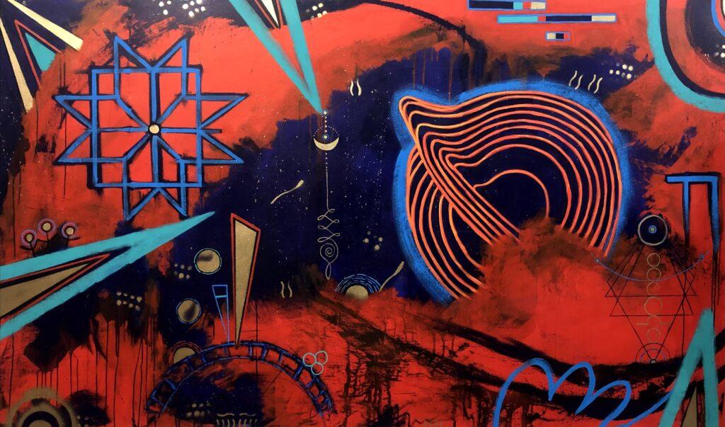 """""""Eclosión"""", Francisco Merino, Mixta sobre tela, Medidas: 150 x 250 cm, 2021"""