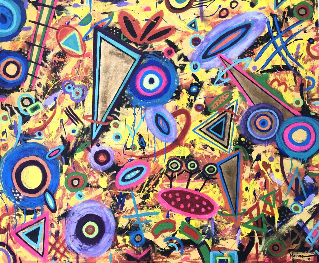 """""""Escalera al cielo"""", Francisco Merino, Mixta sobre tela, Medidas: 100 x 120 cm, 2021"""