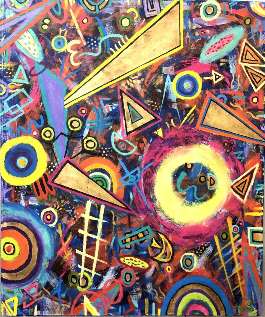 """""""Escaleras paralelas"""", Francisco Merino, Mixta sobre tela, Medidas: 100 x 120 cm, 2021"""