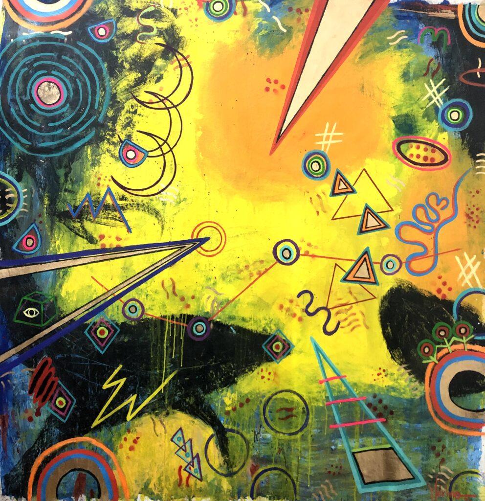 """""""Meteoro"""", Francisco Merino, Mixta sobre tela, Medidas: 140 x 140 cm, 2021"""
