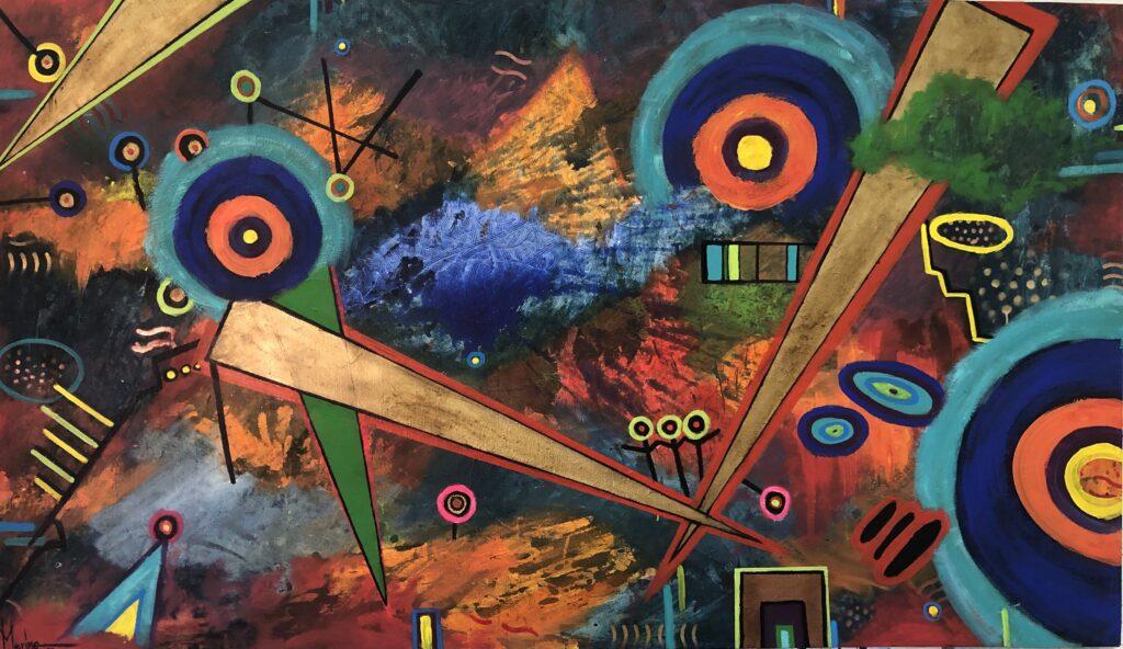 """""""Tormenta solar"""", Francisco Merino, Mixta sobre tela, Medidas: 100 x 170 cm, 2021"""