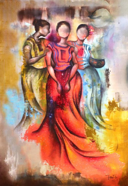 """""""DE LA LUNA, DEL COLOR Y DEL ISTMO"""", DORIS ARELLANO,  ÔLEO SOBRE PAPEL, MEDIDAS: 112 x 76 cm"""